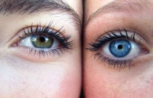 facts about eye color: hazel and blue eye image up close