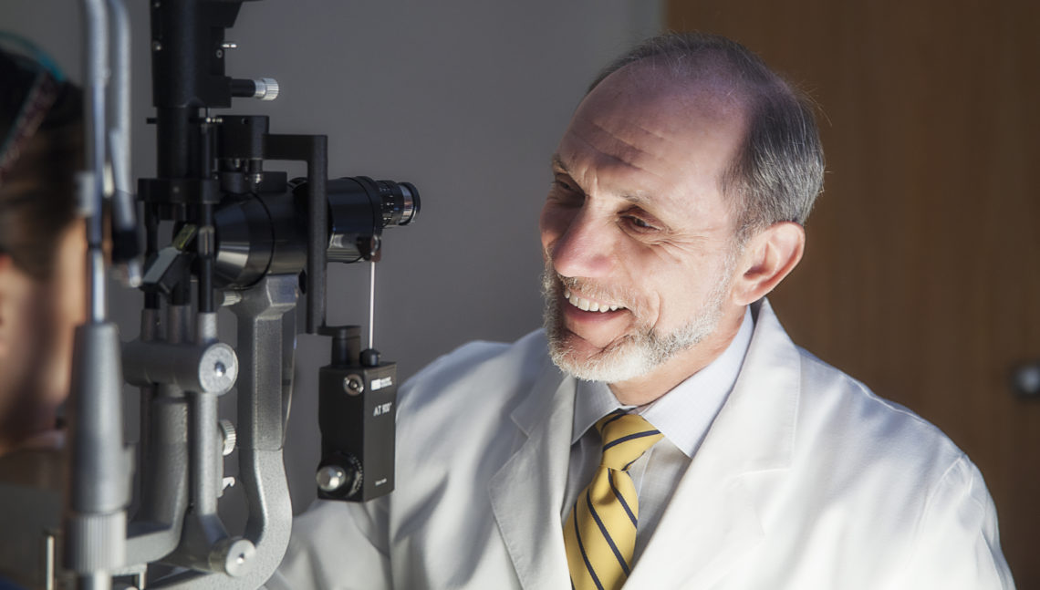 Ophthalmologist performing an eye exam