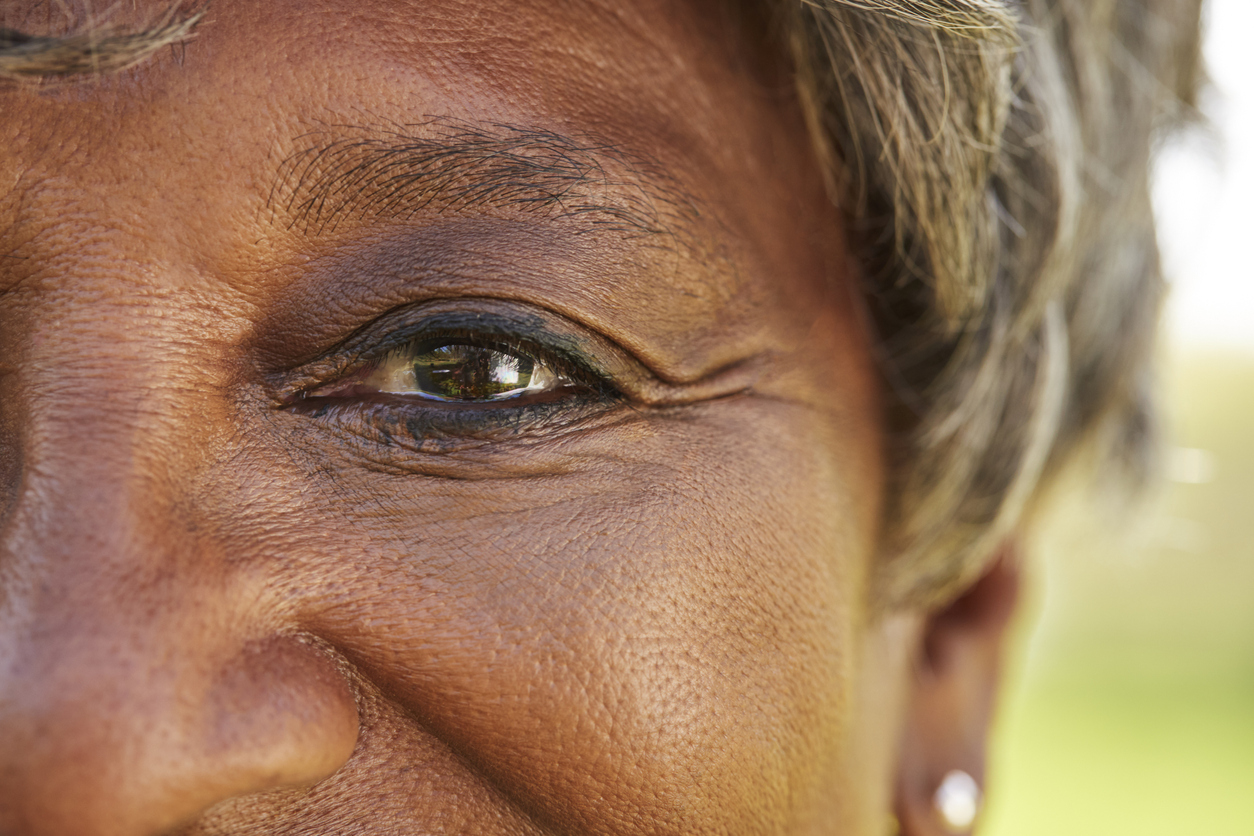 close up photo of African American senior woman's eye